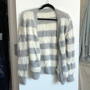 NWOT fuzzy striped cardigan